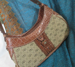 Liz Claiborne Handbag, Small Purse, 3 Compartments, Brass Findings, Fabric Bag - $12.75