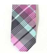 Ben Sherman Silk Tie Mens Necktie Pink Blue Plaid 57 inch 2.5 inch - $19.78