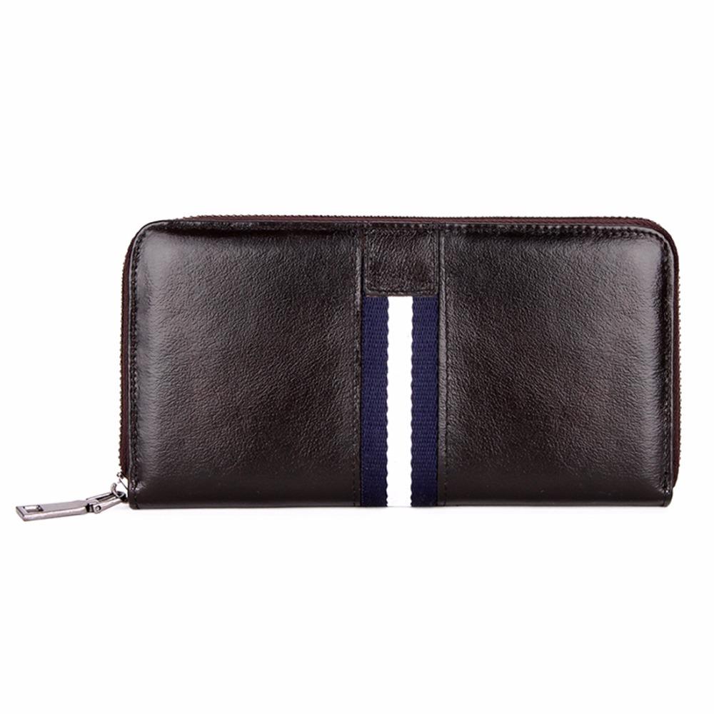 0e060529c3dff VICUNA POLO Waxy Oil Genuine Leather Wallet Fashion Striped Design Large  Mens Lo