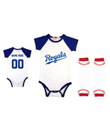 Personalized Blue Onesie Infant Baseball Bodysuit Jersey Outfit - $24.95+