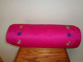 Organic Buckwheat Bed Pillow Pink Cover 17 X 6 X 6 Neck Support Bolster ... - $34.99