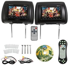 "Rockville RDP711-BK 7"" Black Car Headrest Monitors (7 inch Black With DVD) - $195.92"