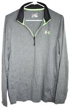 Under Armour Men's Loose Cold Gear 1/4 Zip Grey & Green Long Sleeve Shirt SM image 3