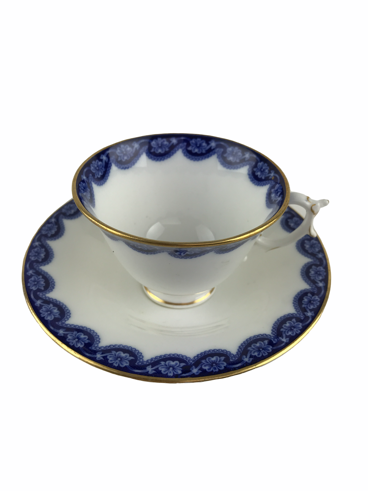 Antique 1903 Royal Worcester Bone China Cup & Saucer Cobalt Flow Blue 429400 - $37.08
