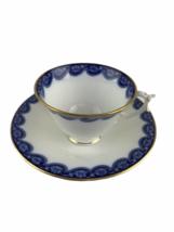 Antique 1903 Royal Worcester Bone China Cup & Saucer Cobalt Flow Blue 42... - $37.08
