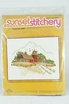 Needlepoint Embroidery Kit Country Red Barn SUNSET STITCHERY Barbara Jen... - $14.03