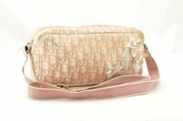 Christian Dior Trotter Canvas Shoulder Bag Pink Canvas Auth 10035 - $180.00