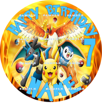 POKEMON : ROUND Personalized Edible Image Cake Topper - $9.78