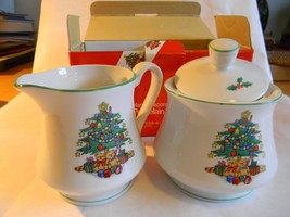 Sugar & Creamer Hand Decorated CHRISTMAS TIME in Original Box FREE SHIPPING - $21.49