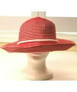 SCALA Floppy Summer Hat Red and White Wide Brim Sun Beach Boho Striped W... - $18.99