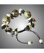 Abalone Shell Mosaic Balls Bracelet with blister Pearls - $130.00