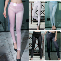 Women's Sexy See Through Silky Shiny Trousers Leggings Sheer Skinny Penc... - $13.99