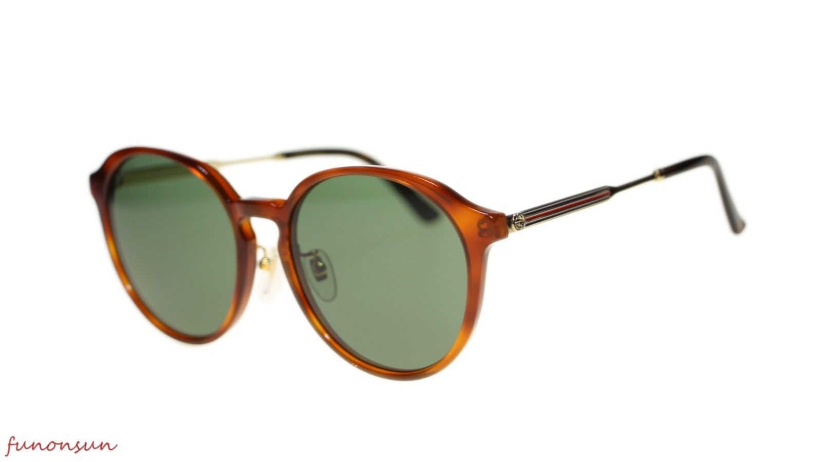 49d0da964b S l1600. S l1600. Previous. New Gucci Unisex Sunglasses GG0205SK 004 Havana  Green Lens Round 57mm Authentic