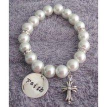 Baptism Bracelet Baptism Pearl Bracelet Baptism Faith Bracelet Cross Cha... - $13.00