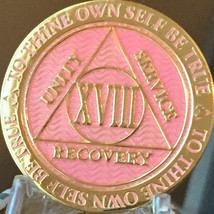 18 Year AA Medallion Pink Gold Plated Alcoholics Anonymous Sobriety Chip... - $17.99
