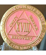 18 Year AA Medallion Pink Gold Plated Alcoholics Anonymous Sobriety Chip... - £13.19 GBP