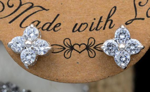 14K White Gold Finish Simulated Diamond Flower Stud Earrings