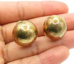 925 Sterling Silver - Vintage Gold Plated Smooth Dome Drop Earrings - E7417 - $27.48