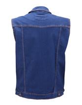 Men's Classic Button Up Casual Cotton Stretch Denim Biker Jean Jacket Vest image 3