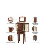 Wooden Jewelry Armoire Storage Cabinet w/ 5 Drawers 2 Necklace Doors  Mi... - $104.98