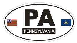 PA Pennsylvania Oval Bumper Sticker or Helmet Sticker D776 Euro Oval with Flags - $1.39+