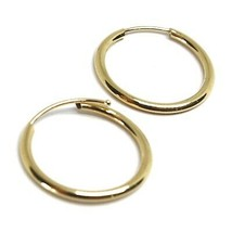 18K YELLOW GOLD ROUND CIRCLE HOOP SMALL EARRINGS DIAMETER 16mm x 1.2mm, ITALY image 2