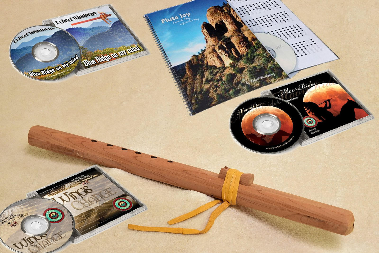 Windpony Unfinished Cedar Flute in the key of A with Instruction Book and 3 Flut