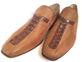 Men Tan Genuine Crocodile Leather Shoes Hornback Skin Handmade Moccasin US 8-9 - $179.99+