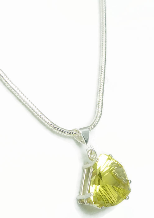 Lemon Quartz Quantum Trillion Sterling Pendant Necklace