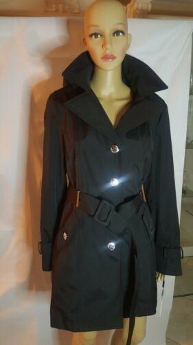 Calvin Klein Women Rain Coat Jacket Black Belt Ruffle Collar Lined PM