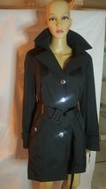 Calvin Klein Women Rain Coat Jacket Black Belt Ruffle Collar Lined PM - $97.89