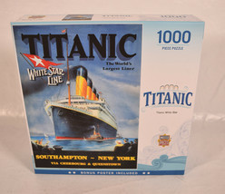 Masterpieces Puzzle Titanic 1000 Piece Jigsaw White Star Line Poster with Puzzle - $28.71