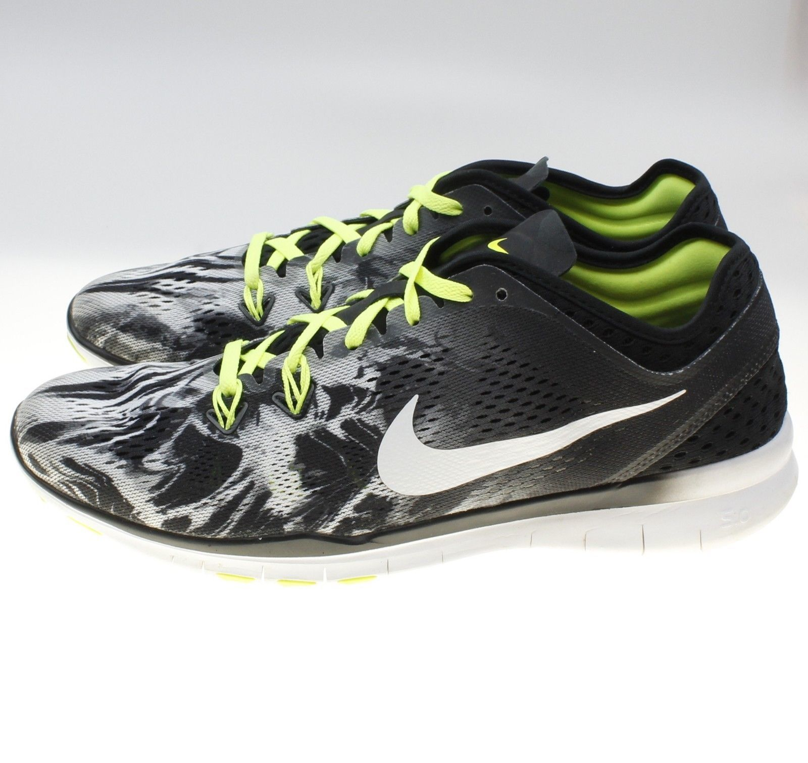 c3134027e2ee9 ... Nike FREE 5.0 TR FIT 5 PRT Running Shoes Black White Volt 704695-014  Size ...