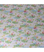 Vtg 60s Muslin Green Pink Blue Cannon Wild Flowers Sheet Set Flat Fitted - $33.37
