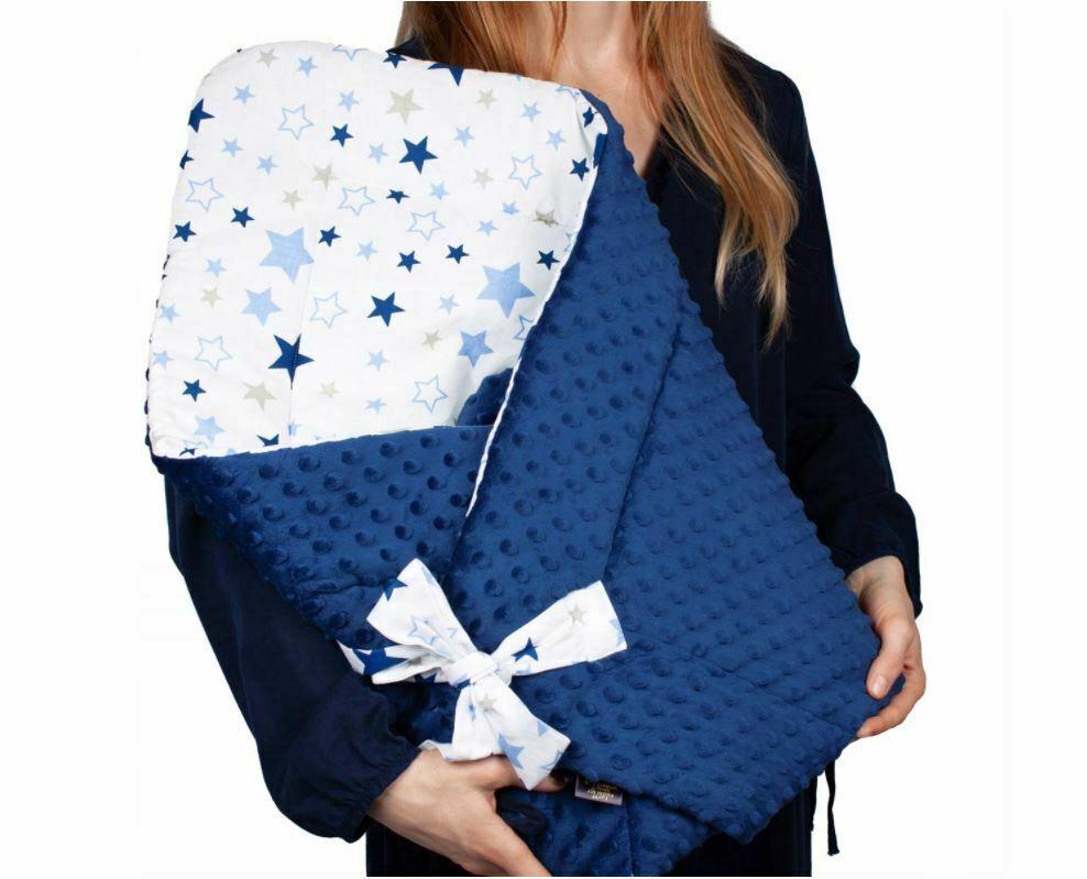 BABY SWADDLE WRAP SLEEPING BAG NEWBORN INFANT BLANKET MINKY COTTON 80x80cm Stars - $51.90