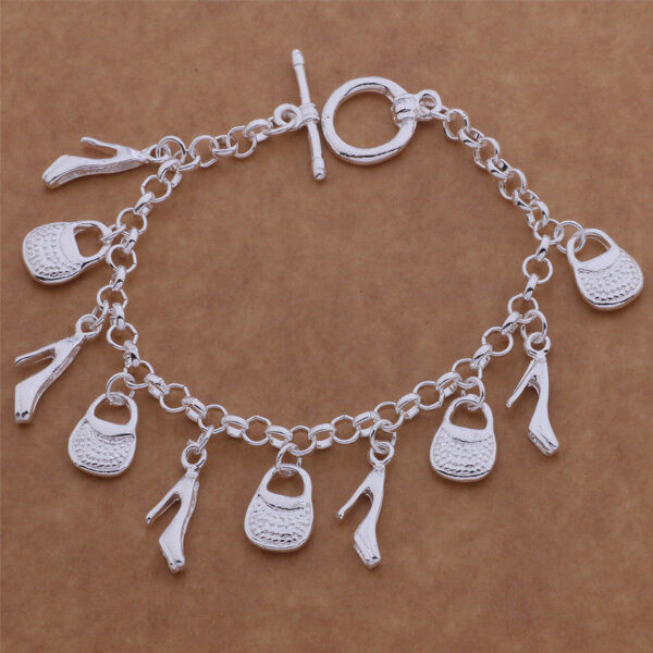 Primary image for Shoe and Handbag Charm Bracelet 925 Sterling Silver NEW