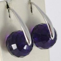 925 STERLING SILVER PENDANT EARRINGS WITH BIG FACETED PURPLE CRYSTAL BALL SPHERE image 1