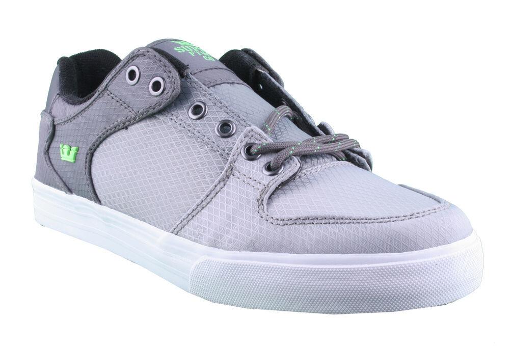 Supra Homme Vaider Bas Décoloré Gris/Blanc Nylon Skateboard Shoes Basket S36042