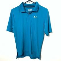 Under armour polo shirt blue short sleeve boys youth large - $19.80