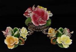 3pc Vtg Capodimonte Italia Rosa Floral con Base Centro Ramo Portavelas - $149.66
