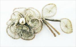 Wire wrap silver tone rose pin faux pearl center fine texture filigree b... - $17.50