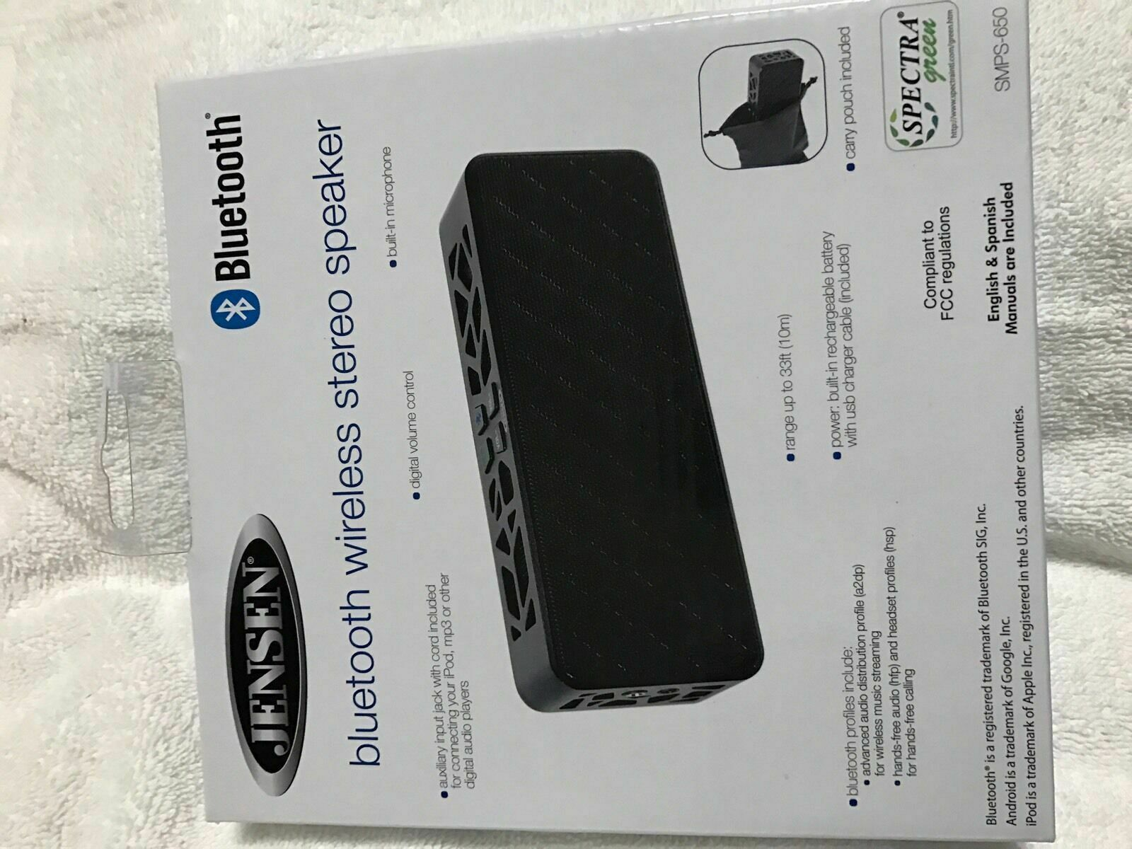 Jensen Smps-650 Portable Bluetooth Wireless Rechargeable Speaker Brand New