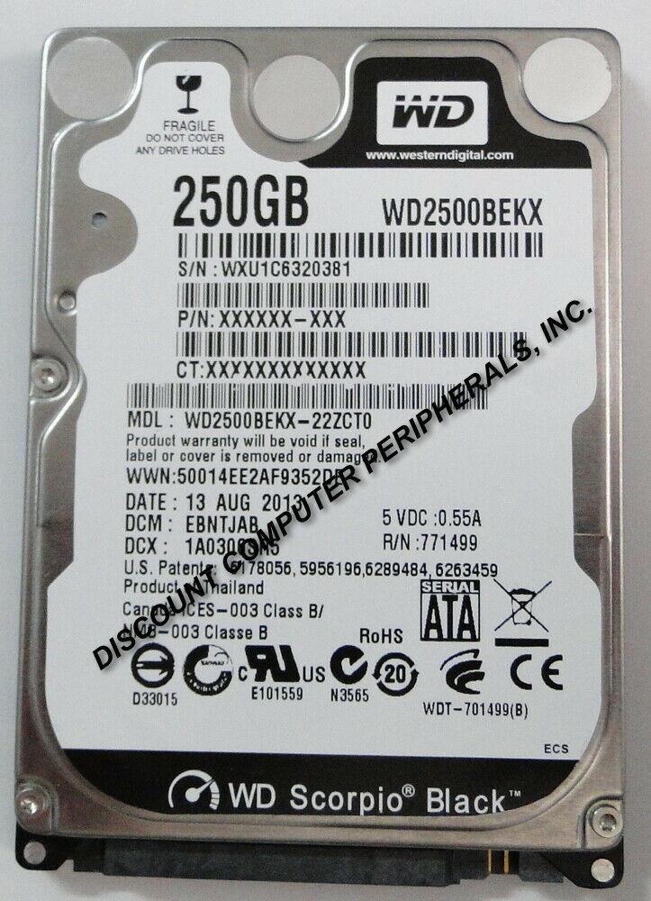 """New 250GB SATA III WD WD2500BEKX 2.5"""" 9.5MM Hard Drive Free US ship"""