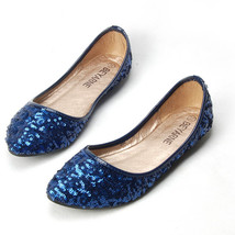 Women Sequin Blue Wedding/Bridal Ballet FlatS Shoes US Size 5.5,6,7,7.5,... - $38.00