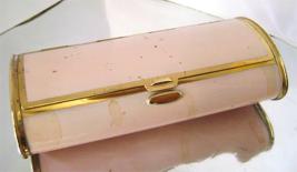 Art Deco Bolster Shape Pink Enamel Compact Lipstick Brass Cigarette Case  - $15.00