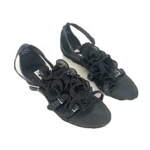 Anthropologie Kelsey Dagger Ruffle Monroe Sandals Black Sz 6.5 - $20.30