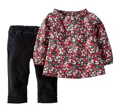 Carter's 2-Piece Floral Top & Corduroy Pant Set, Multi-Color, Size 6M - $15.83