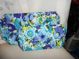 Vera Bradley set of medium & large cosmetics in Blueberry Blooms - $50.00