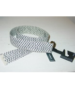 Express Off White Blue Belt Chevron Canvas Woven 1.75 Wide-XS/S-NWT-$24.... - $10.84