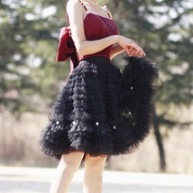 Black Knee Length Layered Tulle Skirt Plus Princess Tulle Skirt Holiday Outfit image 6